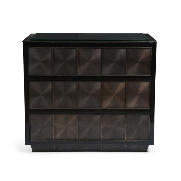 Black Lacquer Side Tables with Blackened Brass 1