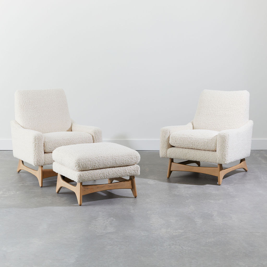 Pair of Sled Chairs & Ottoman by Adrian Pearsall
