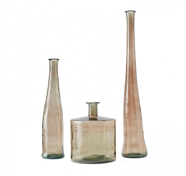 Set of 3 Smoked Vases