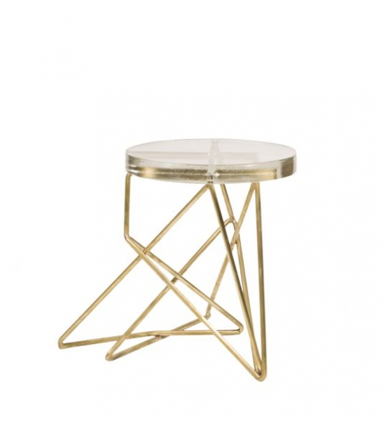 Architect Side Table/Stool, Brass by John Liston