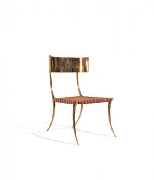 Brass Klismos Chair