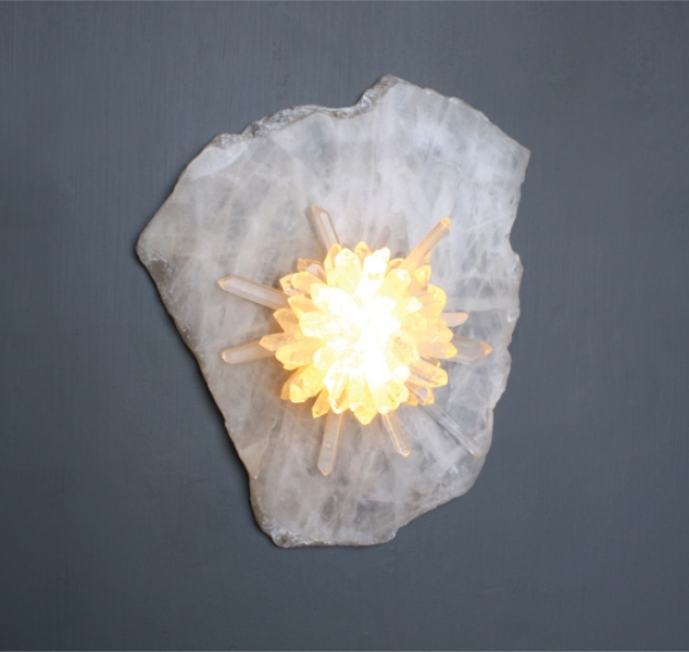 Sugar Bomb Sconce Quartz Slice by Christopher Boots