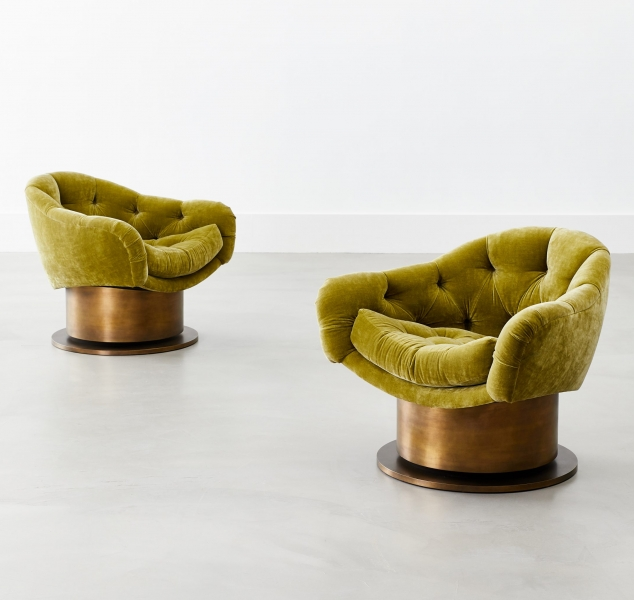 Turn Around Swivel Club Chair, Metal Base by COUP STUDIO