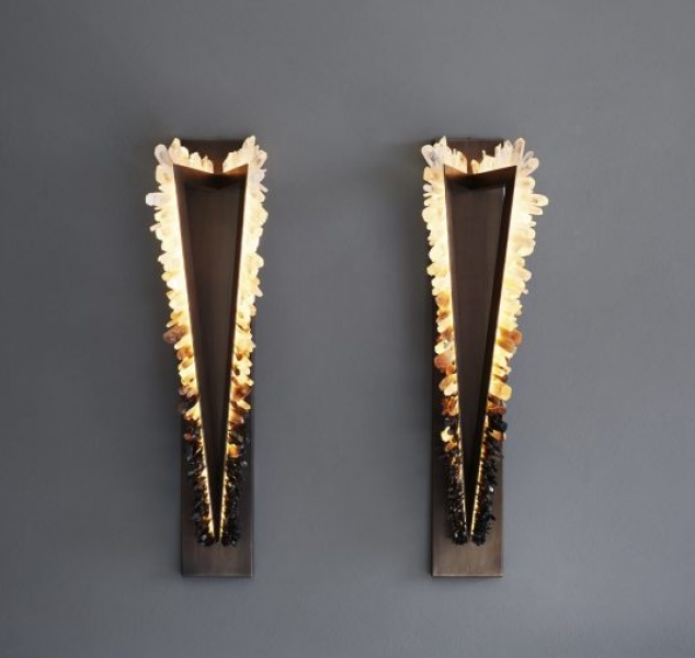 Smoky Crystal Pythagoras Twin Sconce by Christopher Boots