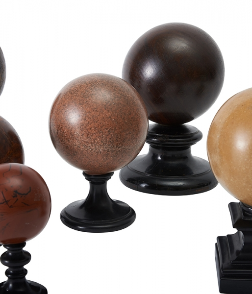 Collection of Twelve Marble, Wood and Stone Orbs