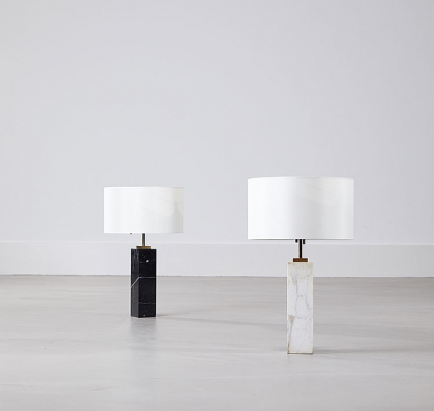 Black or White Marble Table Lamp by T. H. Robsjohn-Gibbings