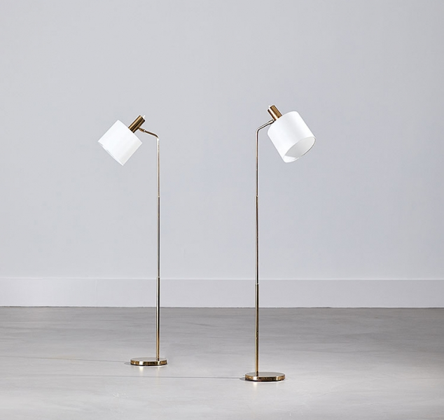 Pair of Mobile Floor Lamps