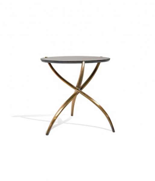 Croise Drink Table – Goatskin/Brass