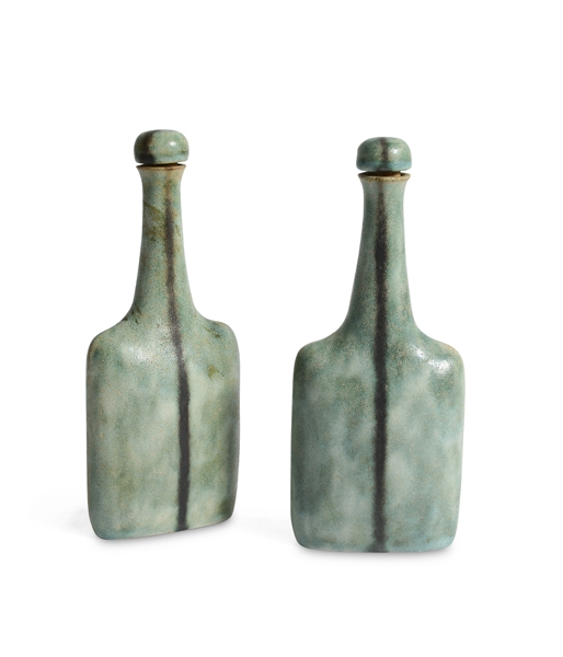 Pair of Coppia Bottles by Bruno Gambone