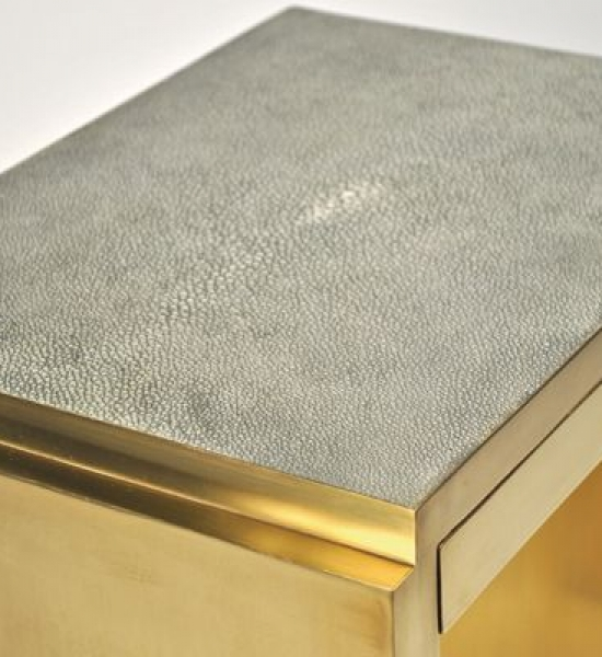 Shagreen & Brass Deco Side Table by Scala Luxury