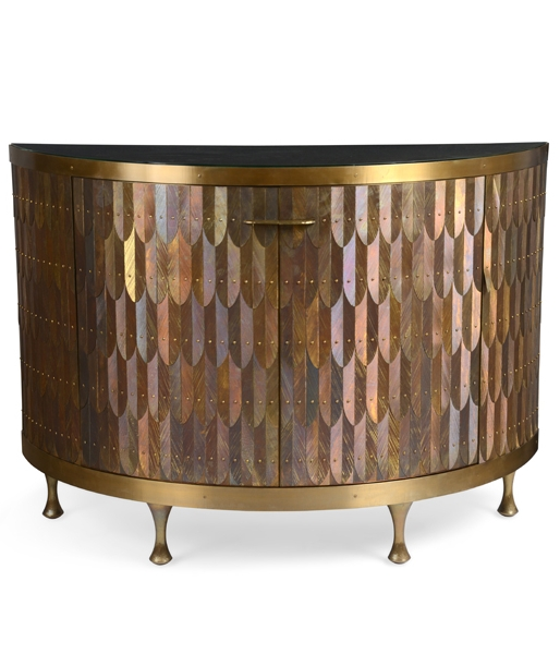 Feathered Demi-Lune Cabinet by Damian Jones