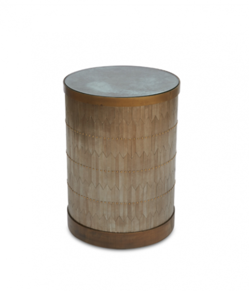 Zag Rivet Drum Table by Damian Jones
