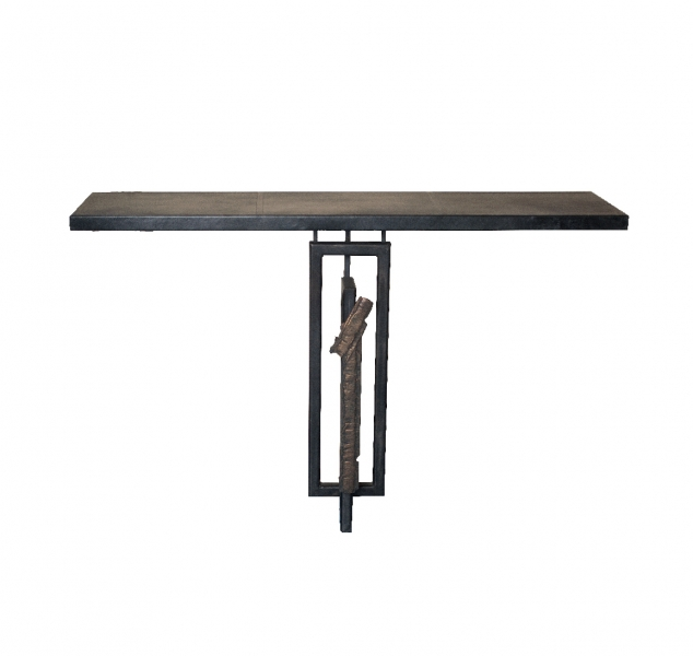 Necto Leather Console Table by Chuck Moffit