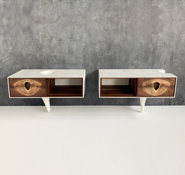 Outside In White Side Tables by Patrick Weder