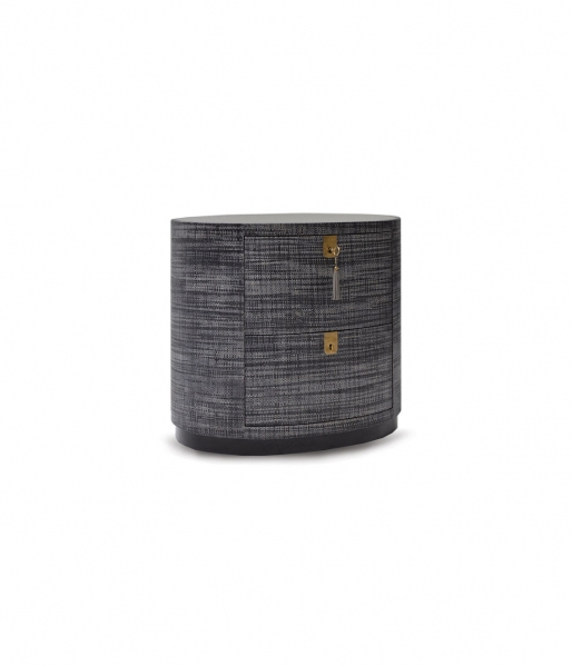 Oval Raffia Bedside Table