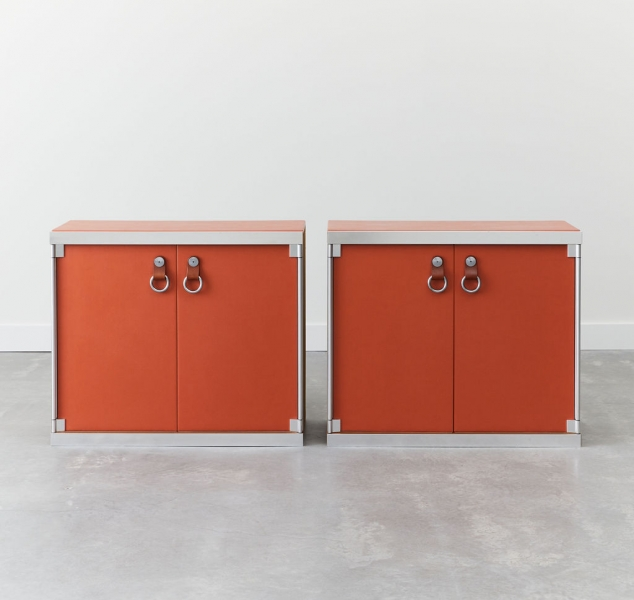 Pair of Steel & Leather Side Cabinetsby Guido Faleschini for Hermes