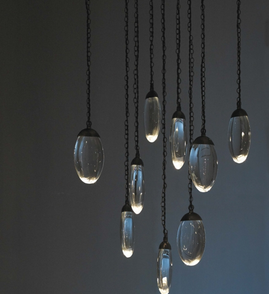 Celestial Pebble Chandelier, Round 9 by OCHRE