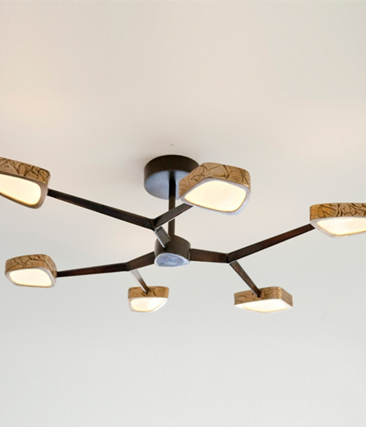 Forged 1 Forked-Arm Chandelier in Rubbed Bronze by Douglas Fanning