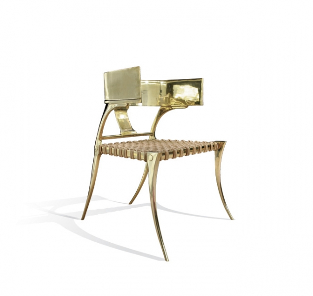 Klismos Low Back Chair, Brass by Scala Luxury