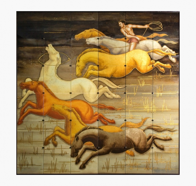 Seven Horses Glass Painting by Jean De Merry