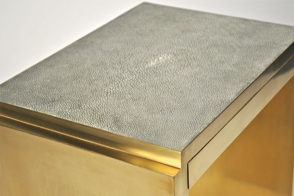 Shagreen & Brass Deco Side Table
