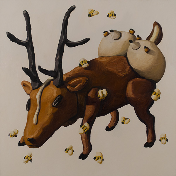 Deer with Antlers and Bees by Peter Opheim