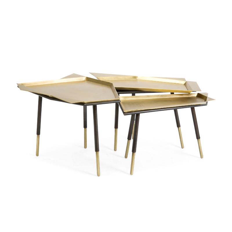 Brass Nesting Tray Tables by John Liston