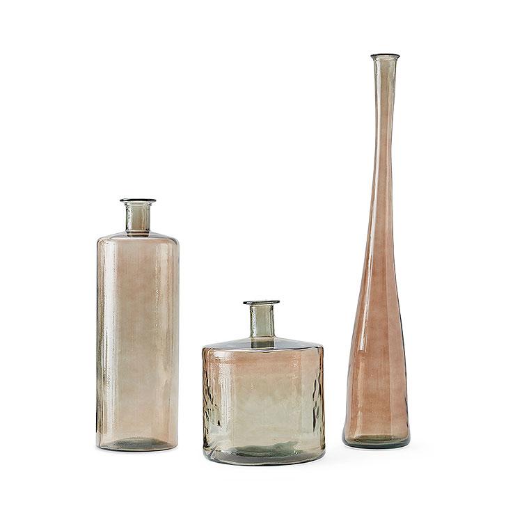Set of 3 Smoked Vases