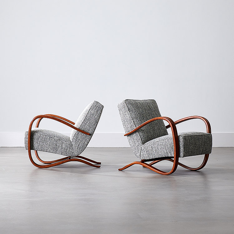 Pair of Kreslo H269 Chairs by Jindrich Halabala