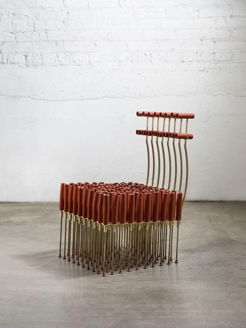 Chair with Tubes and Brass by Gentner