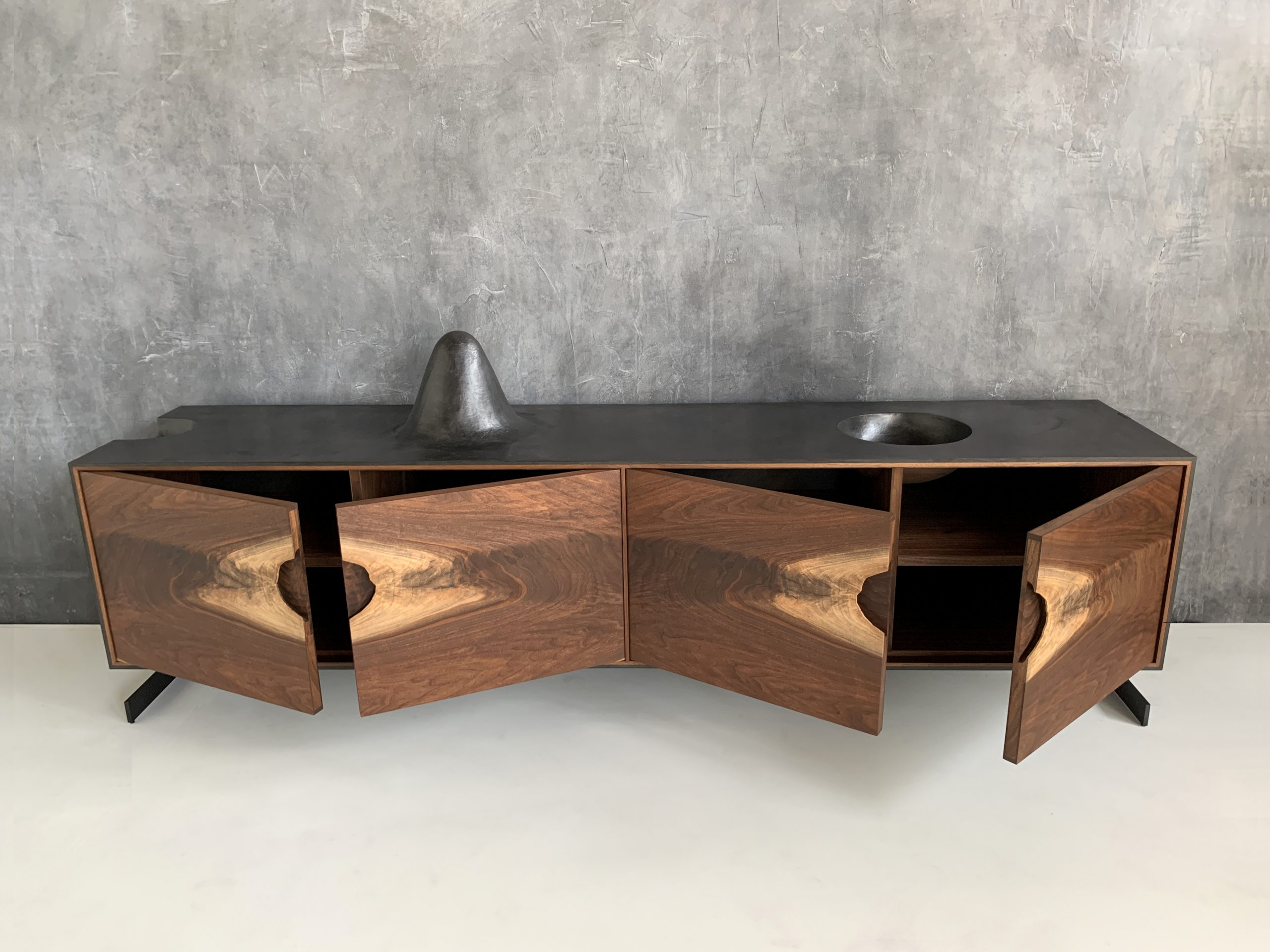 Outside In Walnut Credenza by Patrick Weder