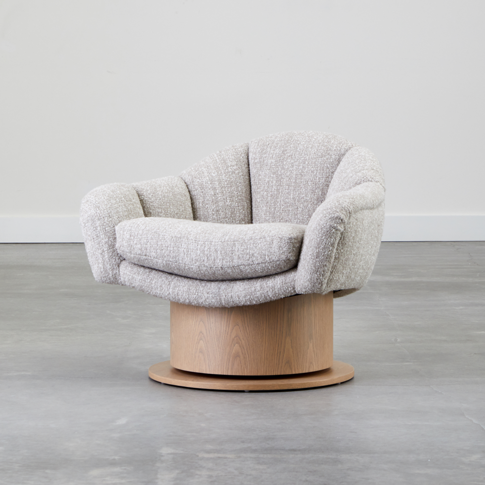 Turn Around Swivel Club Chair, Channel Tufted by COUP STUDIO