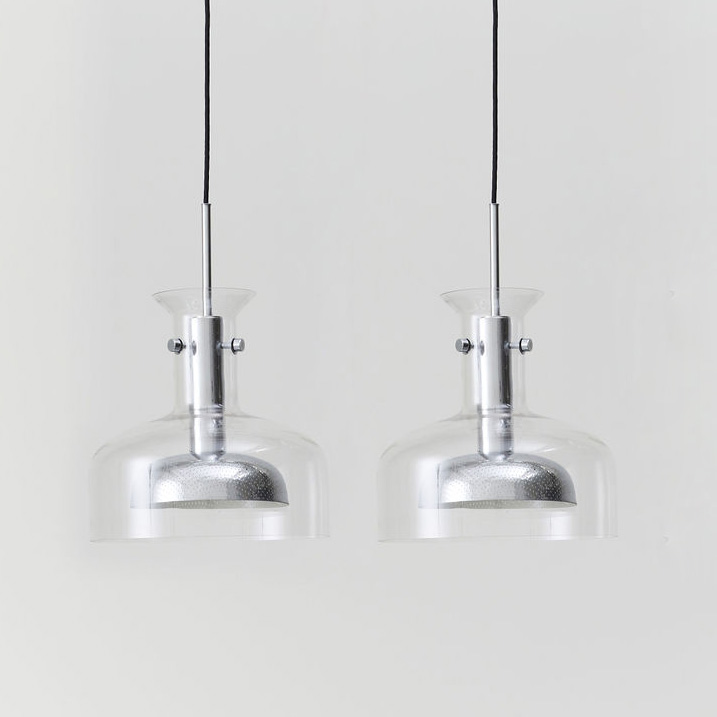 Pair of Crystal Pendants, Chrome Plated by Anders Pehrson