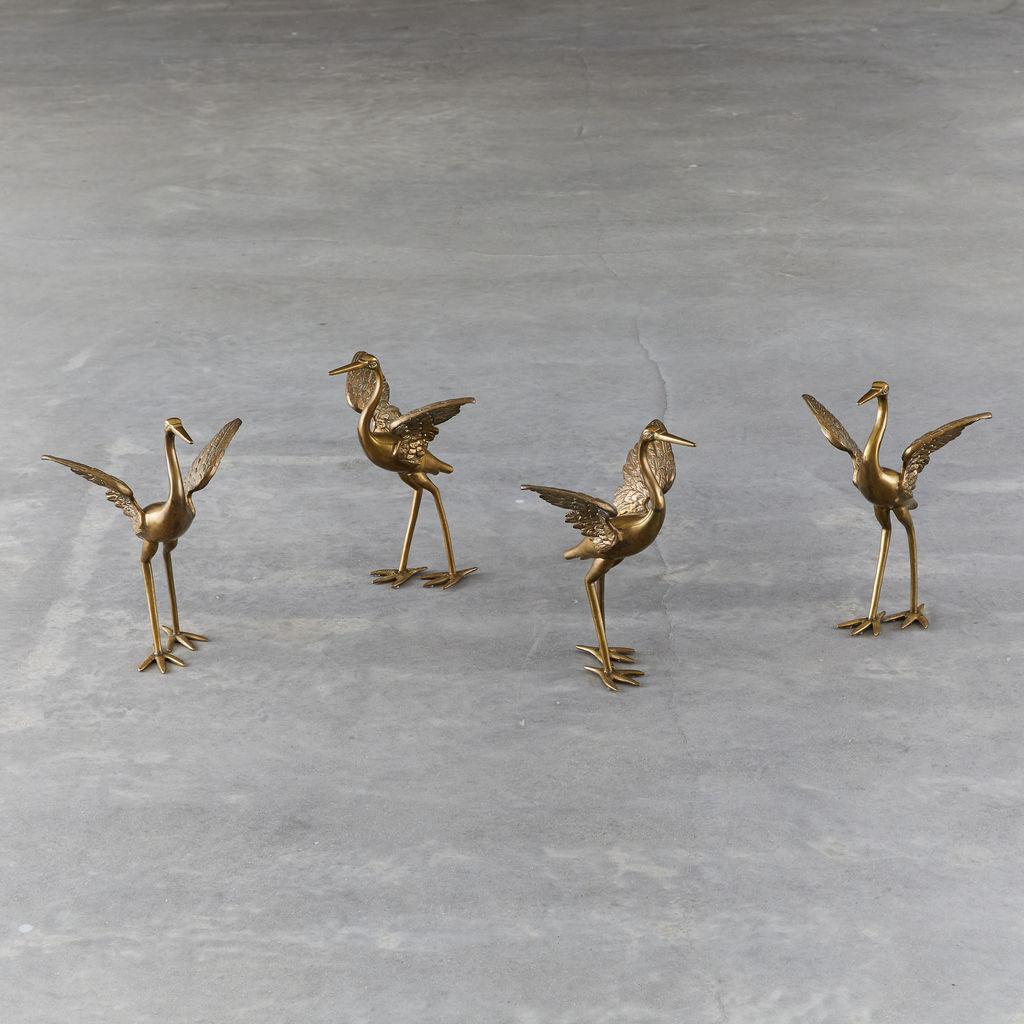 Set of Four Bronze Cranes